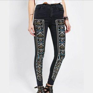 BDG UO High Rise Twig Beaded Ankle Skinny Jeans